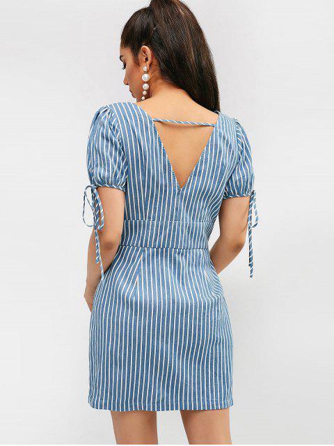 womens ZAFUL Striped Plunging Button Up Dress - CORNFLOWER BLUE M Mobile