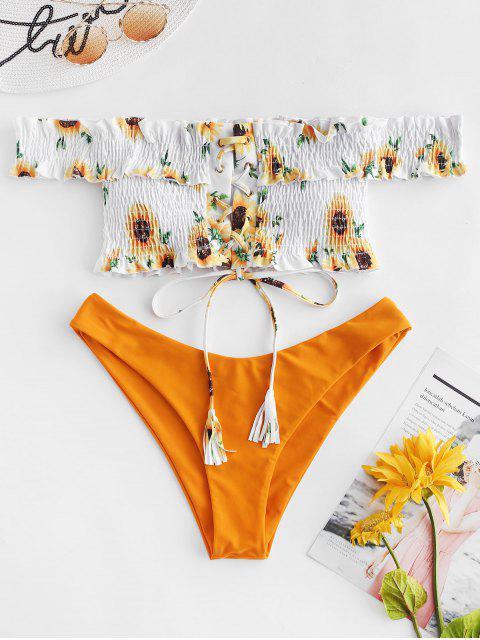 chic ZAFUL Sunflower Lace-up Shirred Bikini Set - BRIGHT YELLOW M Mobile