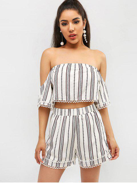 sale ZAFUL Striped Crochet Off Shoulder Shorts Set - WHITE S Mobile