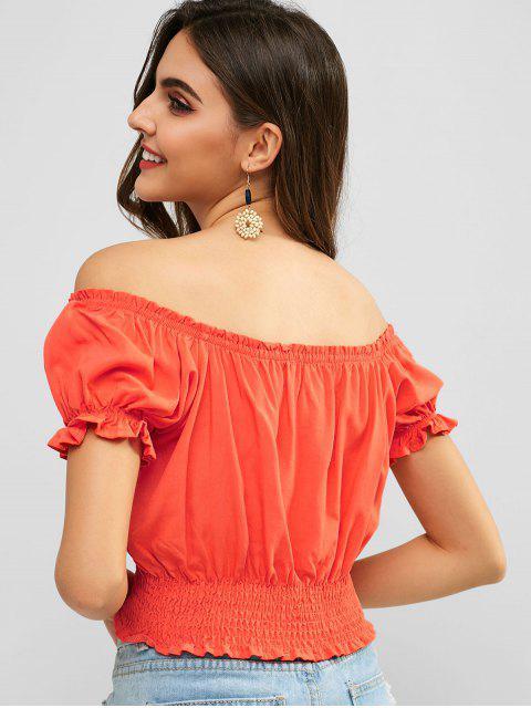 ZAFUL atada blusa de hombro fuera de juego - Naranja Baloncesto S Mobile