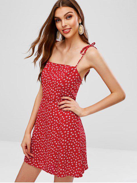 Vestido cami floral con volantes en las tiras - Rojo M Mobile
