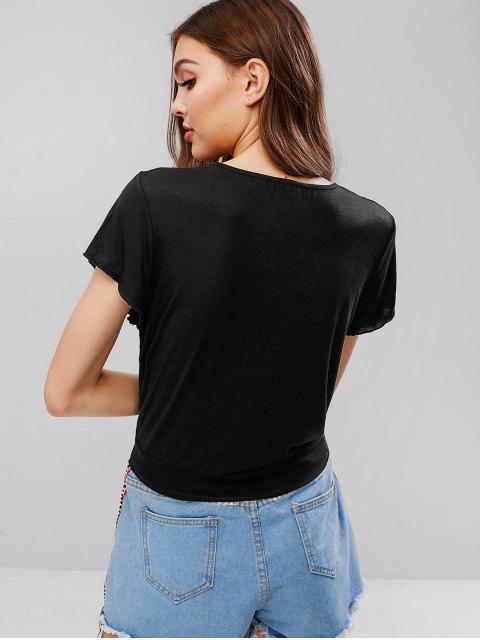 Camiseta de lazo sólido - Negro L Mobile