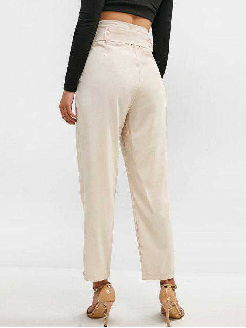 women's Belted High Waisted Straight Pants - CHAMPAGNE S Mobile