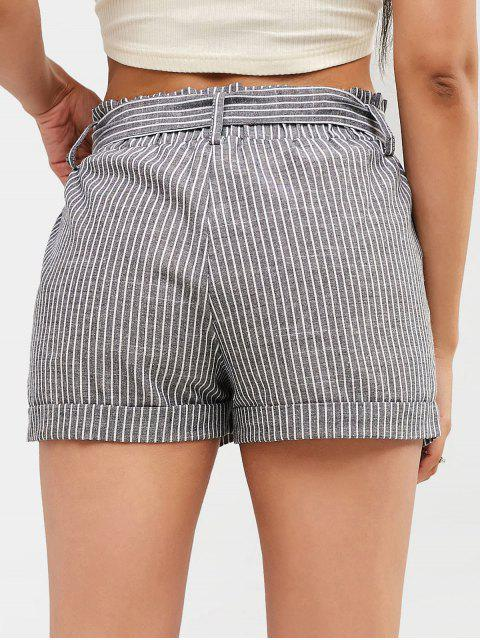 outfits Striped Belted Cuffed Shorts - GRAY S Mobile