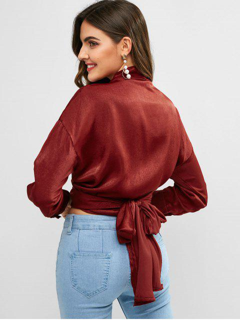lady Flowing Crossover Wrap Tie Top - RED WINE ONE SIZE Mobile