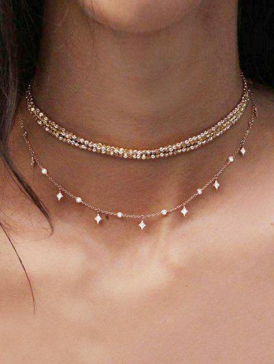 Layered Chain Choker Necklace - Gold