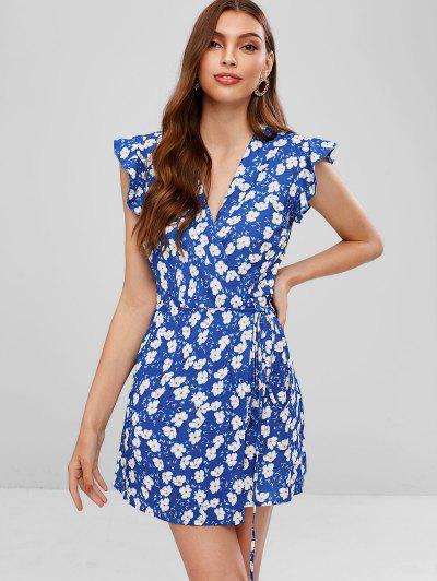 90cc345d435 Ruffled Floral Mini Wrap Dress - Blue M ...