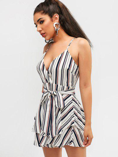 44781de6e8b ... ZAFUL Striped Overlay Wide Leg Romper - White M