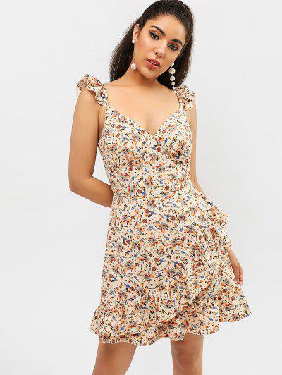 1738adaaac8 ZAFUL Floral Ruffle Mini Dress - Apricot L ...