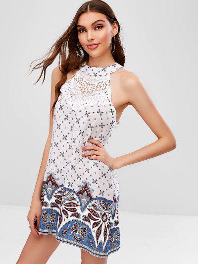ba75a998fc ... Crochet Panel Printed Sleeveless Dress - White S