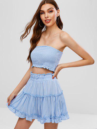 4aa1c23a4c ZAFUL Smocked Bandeau Top And Skirt Set - Light Blue - Light Blue Xl