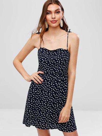 06b785384e9 Tied Straps Smocked Floral Cami Dress - Cadetblue M ...