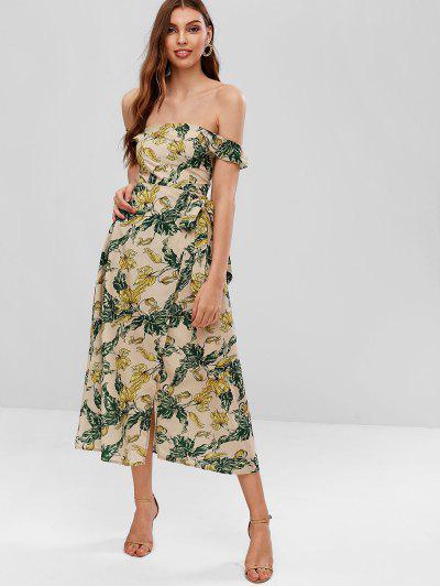 Overlap Smocked Cut Out Floral Dress