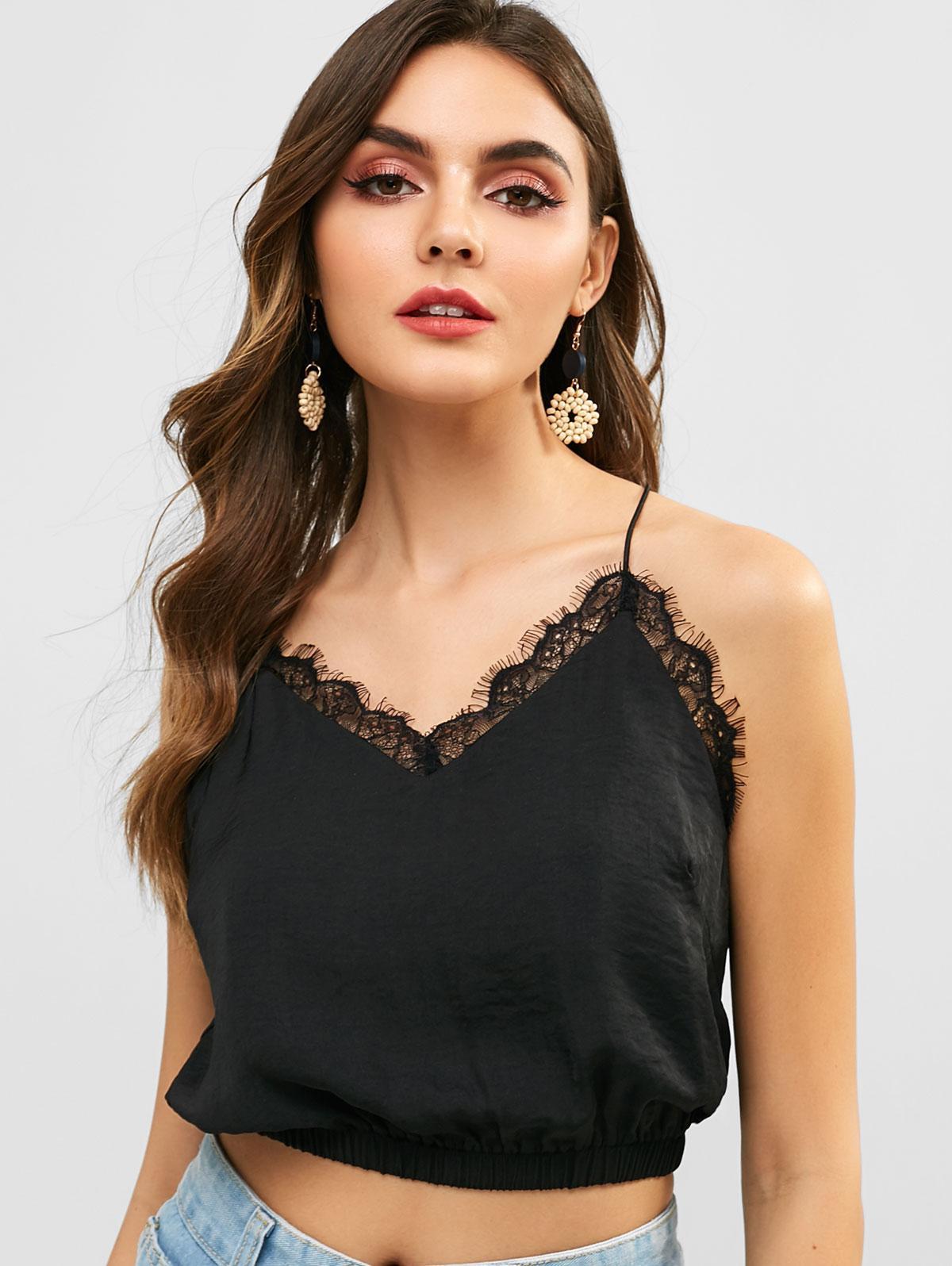 ZAFUL Eyelash Lace Panel Cami Top, Black