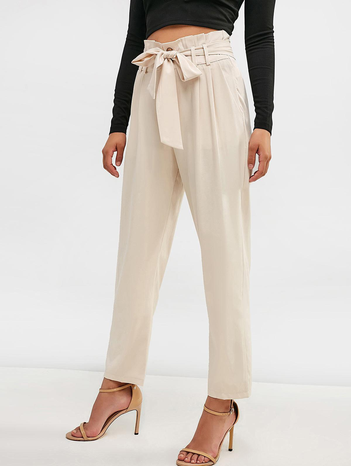 Belted High Waisted Straight Pants thumbnail