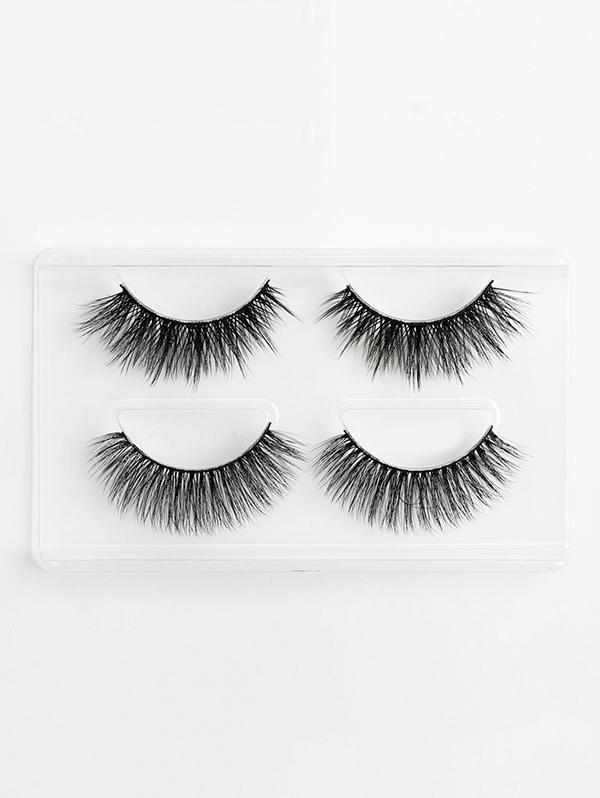 2Pcs 3D Mink Hair Curl Thick Layered False Eyelashes