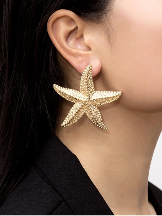 outfit Starfish Carved Shape Stud Earrings - GOLD