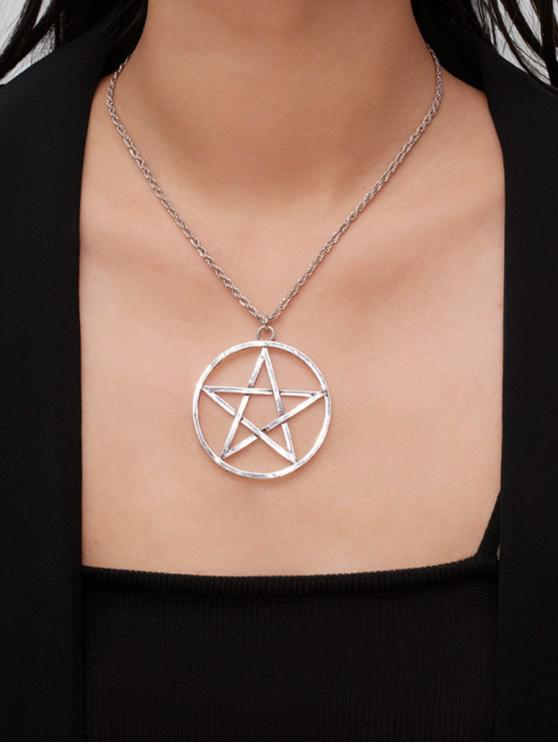 best Star Circle Hollow Pendant Necklace - SILVER