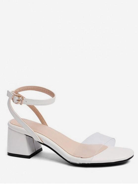 new Transparent PVC Strap Chunky Heel Sandals - WHITE EU 38