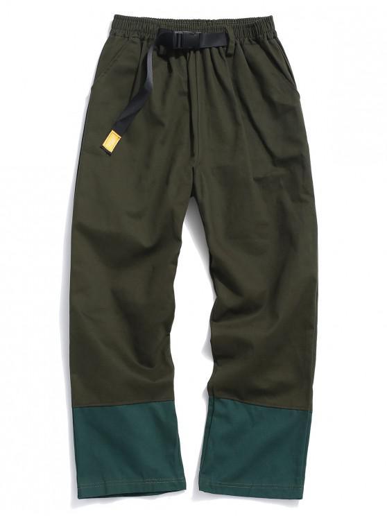 shop Color Block Elastic Panel Pants - ARMY GREEN M