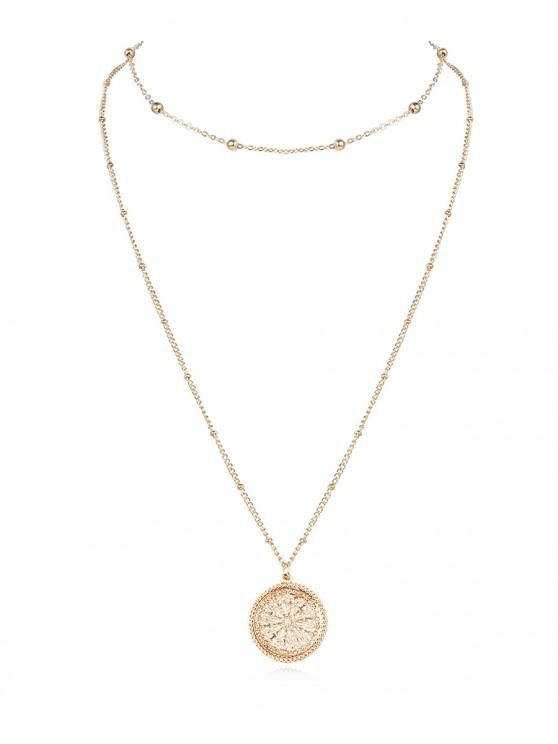 online Alloy Double-layer Hollow Out Pendant Necklace - GOLD