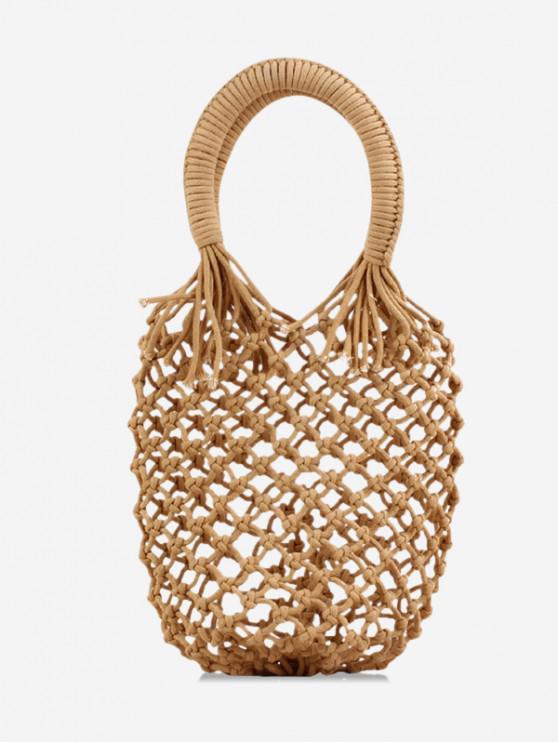 new Solid Summer Knitted Handmade Handbag - LIGHT BROWN