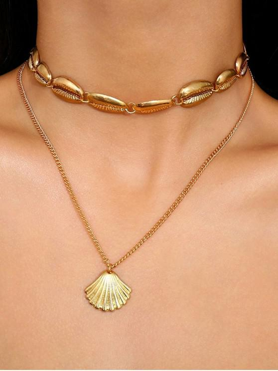 outfits Seashell Shape Multilayered Alloy Necklace - GOLD