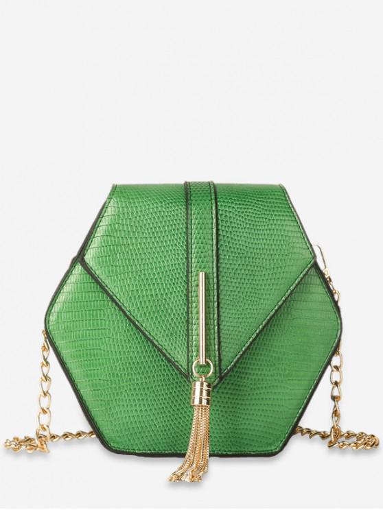 best Geometric Design Tassel Crossbody Bag - DEEP GREEN