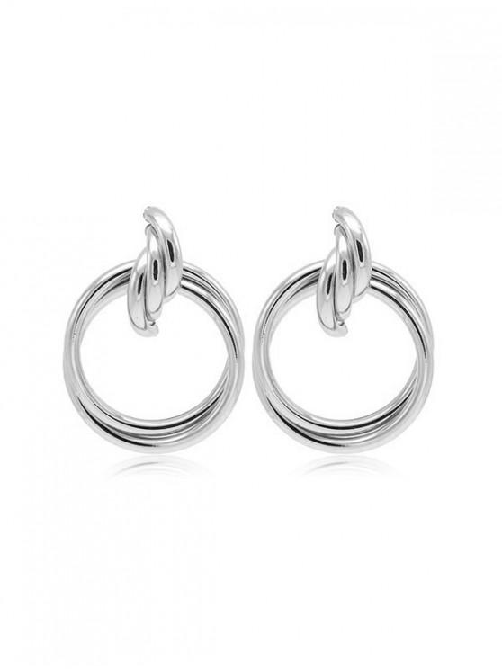 fashion Metal Circles Drop Earrings - SILVER