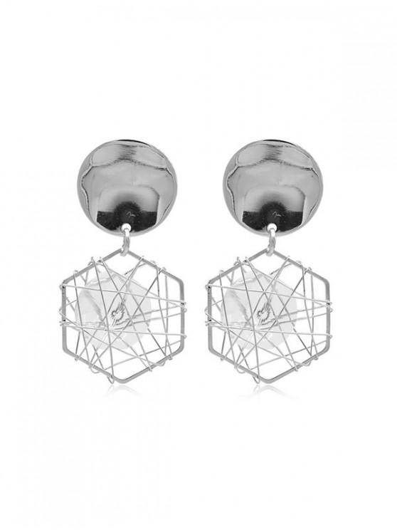 chic Faux Zircon Geometric Earrings - SILVER