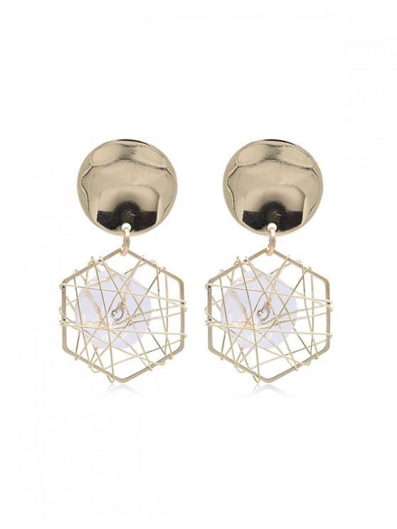 unique Faux Zircon Geometric Earrings - GOLD