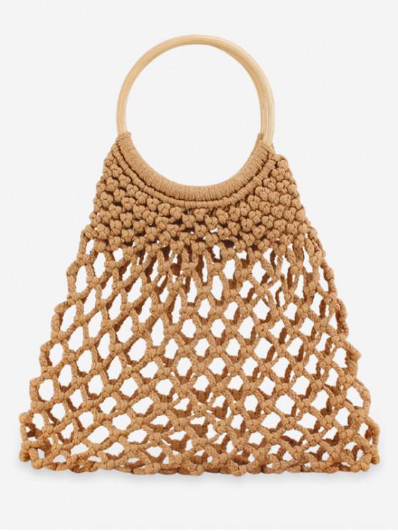 affordable Circle Handle Hollowed Net Handbag - LIGHT BROWN