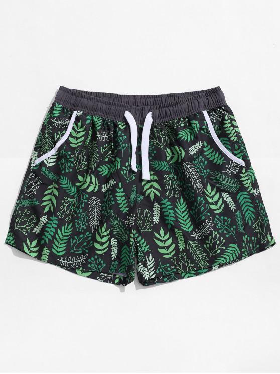 womens Plant Leaves Allover Print Beach Shorts - CLOVER GREEN M
