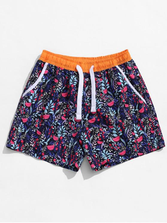 online Allover Plant Print Beach Shorts - RED XL