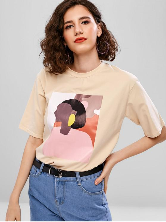 womens Round Neck Portrait Graphic Tee - APRICOT S