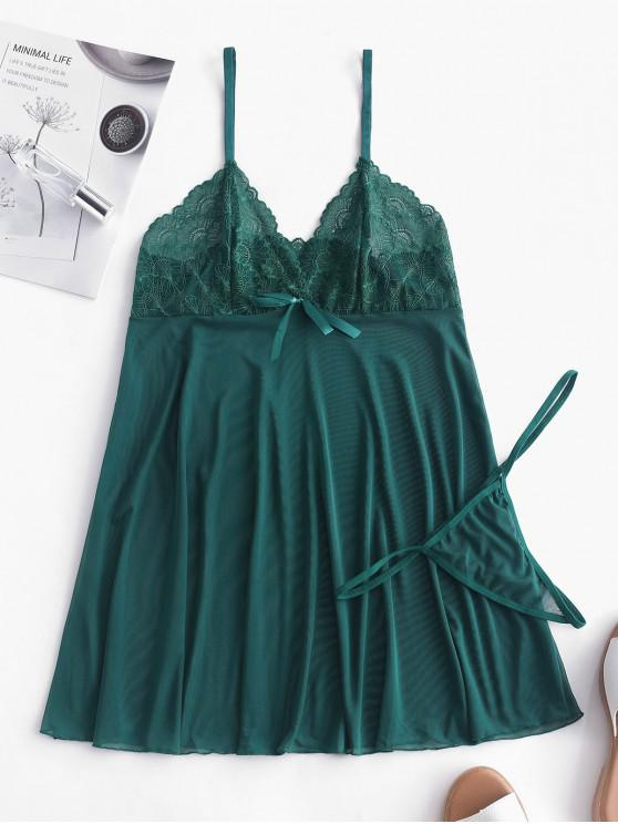 outfit Lace and Mesh Babydoll Set - GREENISH BLUE M