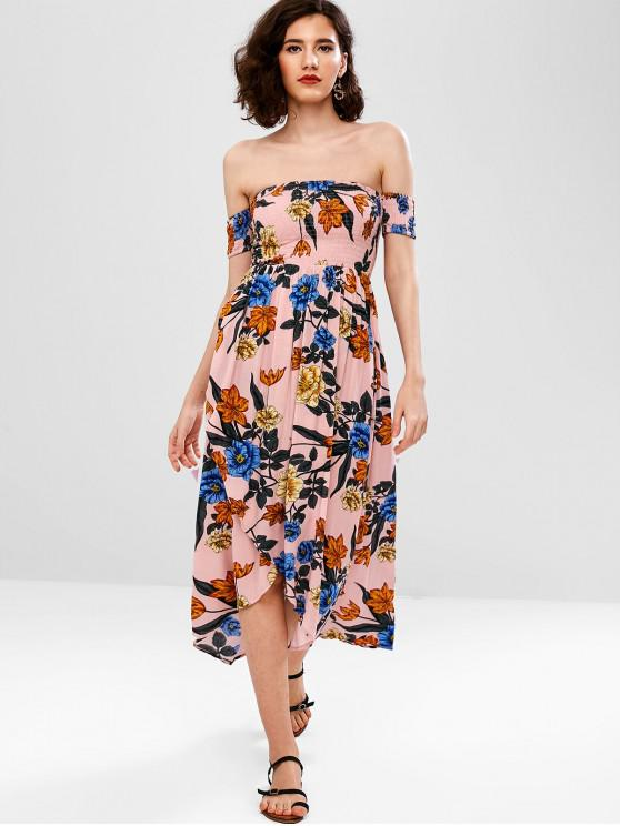 fashion ZAFUL Shirred Floral Off The Shoulder Dress - PINK M