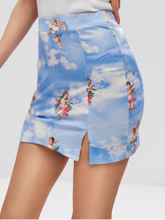 lady Angels Print Slits Skirt - MULTI S