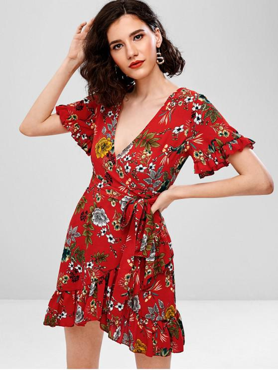 bbfdf762792 31% OFF   NEW  2019 Ruffles Surplice Floral Tied Flounce Dress In ...