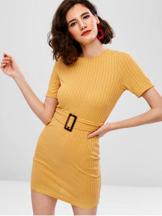 trendy ZAFUL Knit Belt Tee Dress - BEE YELLOW L