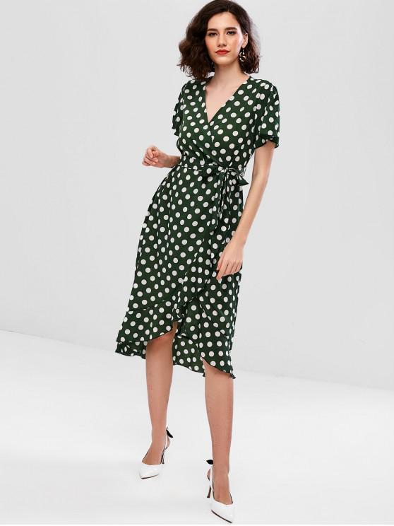 fancy ZAFUL Belted Polka Dot Ruffles Surplice Dress - SEA TURTLE GREEN M