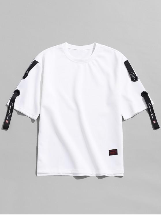 shops Ribbon Design Solid Color T-shirt - WHITE M