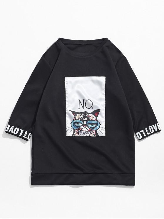 buy Cat Print Patchwork Letters Short Sleeves T-shirt - BLACK L