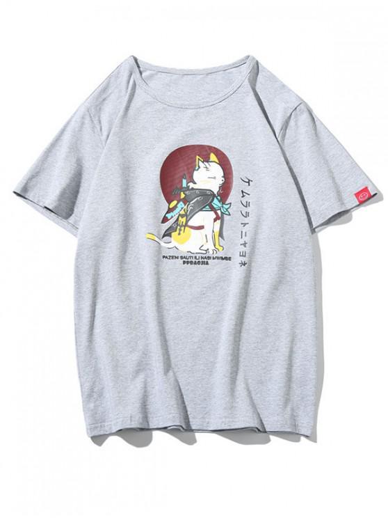 women's Cat Letters Print Short Sleeves T-shirt - LIGHT GRAY M