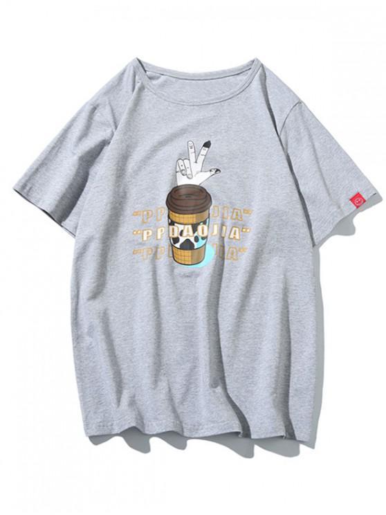 womens Finger Gesture Letters Print Short Sleeves T-shirt - LIGHT GRAY XL