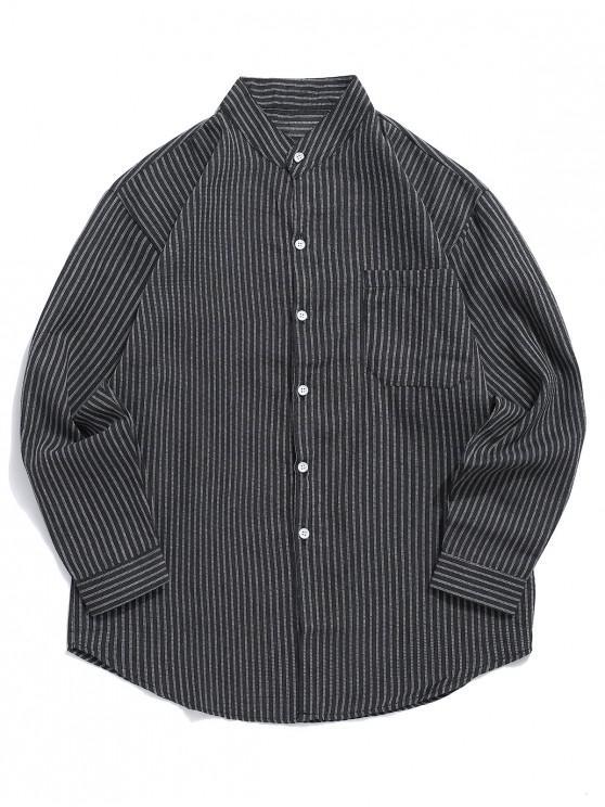 Gestreifter Stil Hemd mit Gebogenem Saum - Schwarz M