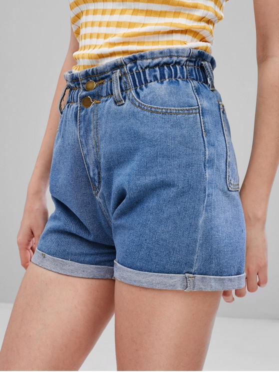 Pantalones cortos de mezclilla con cintura alta - Azul de Jeans  L