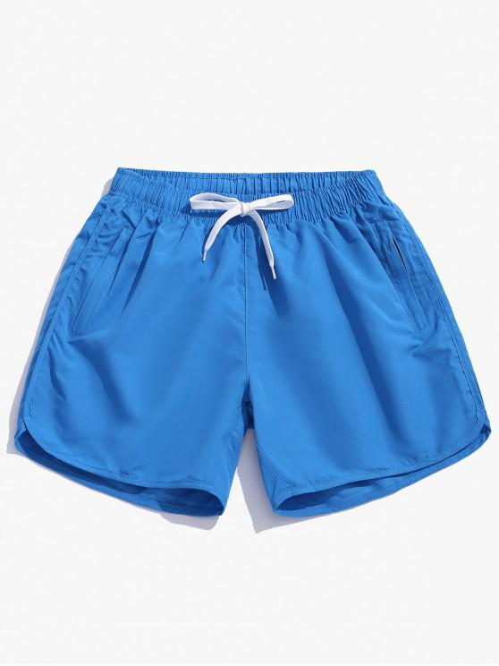 Pantalones cortos de natación casual de color sólido - Celeste Ligero 2XL