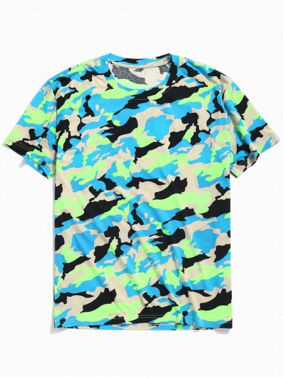 Camiseta de neón con estampado de camuflaje ZAFUL - Verde Camuflaje 2XL