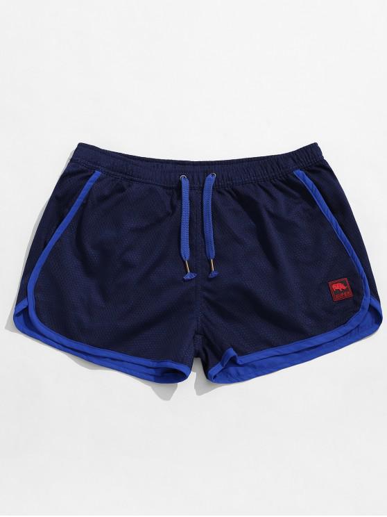 Pantalones cortos de bolsillo con cordón lateral - Azul Profundo 2XL